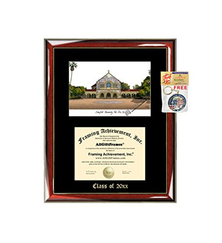 (Stanford University Diploma Frame Emboss Lithograph Graduation Degree Framing Gift College Graduate Plaque Black Matted University Diploma Frames)