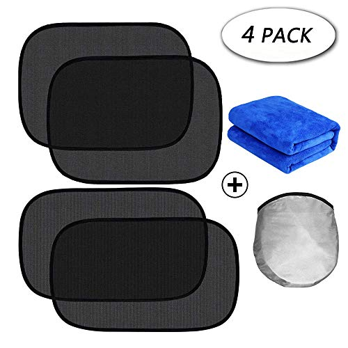 Car Window Shade (4-Pack), Cling Car Window Shade Sunshade for Baby Kids, Cling Sunshade for Car Window/Windows Shade Front Drivers Side Retractable Suv Minivans