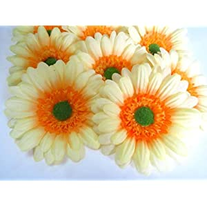 "(12) BIG Silk Yellow Gerbera Daisy Flower Heads , Gerber Daisies - 3.5"" - Artificial Flowers Heads Fabric Floral Supplies Wholesale Lot for Wedding Flowers Accessories Make Bridal Hair Clips Headbands Dress 104"