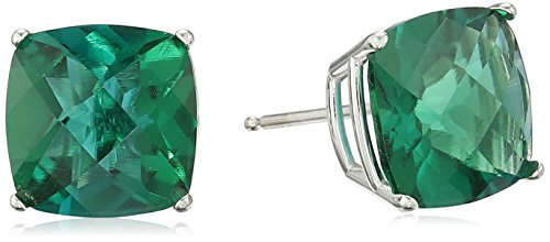 14k White Gold Cushion-Cut Checkerboard Created Emerald Stud Earrings (8mm) ()