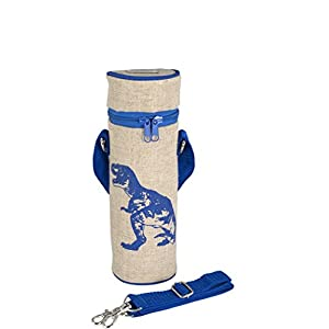 SoYoung Bottle Bags - Adult - Kids - Lunch - Insulated - Messenger Strap - Eco-Friendly - Hiking- Biking - Commuting - Blue Dino