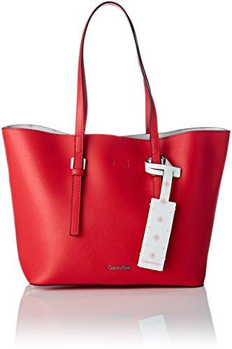 Calvin Klein Ck Zone Medium Shopper, Cabas Rouge (Scarlet/Ck White)