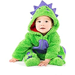 Funstuff Baby Boys' Plush Fleece Dinosaur Costume Coverall Footies