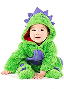 Funstuff Baby Boys' Plush Fleece Dinosaur Costume Coverall with Footies
