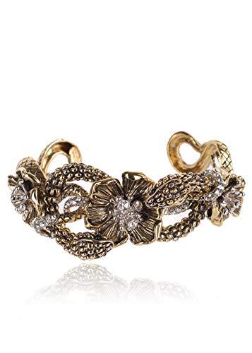 (Roberto Cavalli Gold Floral Swarovski Crystal Serpent Bracelet Sz M/L~RTL$1450)