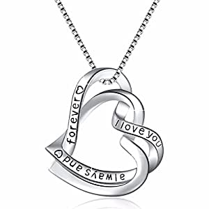 "925 Sterling Silver ""I love you for always and forever"" Heart Vintage Pendant Necklace, Box Chain 18"""