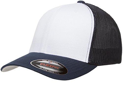 Trucker Style Hat - Flexfit Trucker Cap. 6511 - Navy / White / Navy - One Size