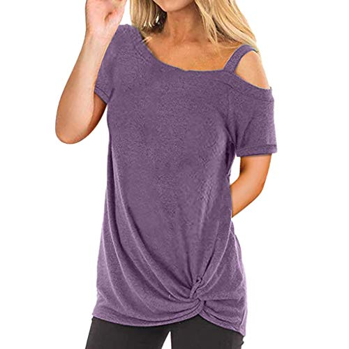 (Sunhusing Women's Solid Color Round Neck Off-Shoulder Short-Sleeved Shirt Hem Twisted Casual Wild T-Shirt Purple)
