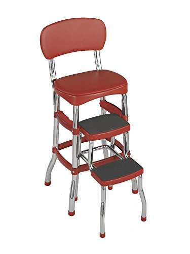 Cosco 11120RED1E Retro Counter Chair/Step Stool, Red by Cosco