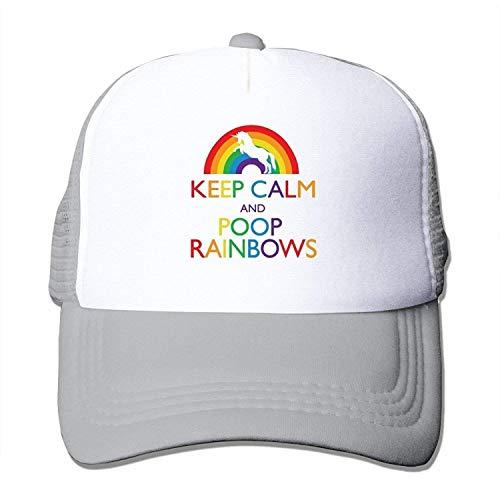 (MZONE Personalized Flat Billed Caps Keep Calm Poop Rainbows Truker Visor Cap Black)