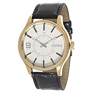 Astro Men's White Dial Leather Band Watch