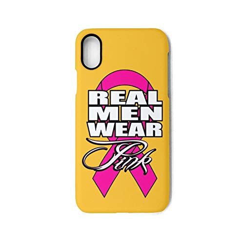 2019 Real Men Wear Pink Mens Breast Cancer Awareness Protection Cover Phone Case for Apple iPhone X (T Shirt Ideas For Breast Cancer Walk)