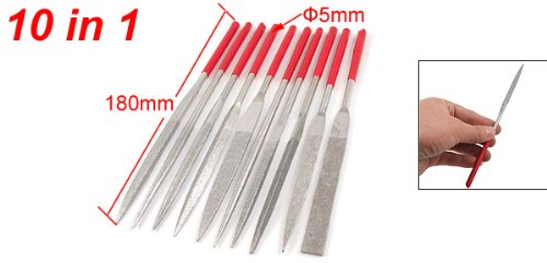 Uxcell Plastic Handle Square Round Triangle Crossing Needle Files Set (10 Piece)