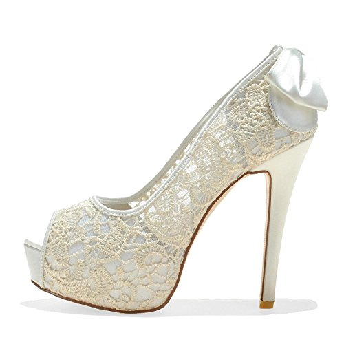 RF591 Shoes Wedding Lace Silk Women Flowers Like Toes Evening Elobaby Peep 5qtT5c