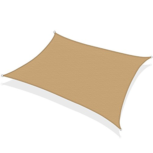 KHOMO GEAR Rectangular Sun Shade Sail 12 x 16 Ft UV Block Fabric - Beige - Tan (Detached Decks Backyard)