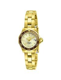 Invicta 12527 Pro-Diver - Reloj de pulsera para mujer (chapado en oro de 18 quilates, acero inoxidable y esfera de champaña)