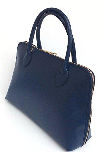 Model Italie Saffiano main Sac véritable SUPERFLYBAGS bleu cuir foncé Format à Fabriqué en CIRC en A4 ROS0nwfUq
