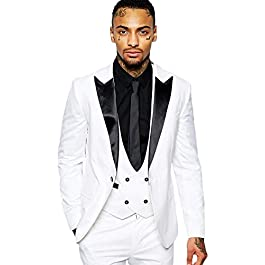 Botong Men's Shawl Lapel Wedding Suits 3 Pieces Groom Tuxedos Jacket Vest Pants Prom Suits