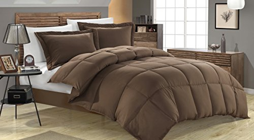 Luxury Goose Down Alternative Comforter With Corner Tab - All Season Quilt - Soft Fabric- Plush Siliconized Fiberfill by Weavid (Twin, Brown)