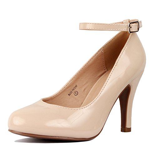 Comfortable Stiletto 14 Round Pumps Nude Patent Heart Ankle Womens Walking Toe Closed Strap Guilty Dressy UxEw4qvT7