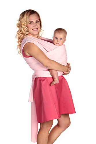 Baby Sling Carrier by AmBaby – Soft and Stretchy Baby Wrap for Newborns, Infants and Toddlers (Pink)