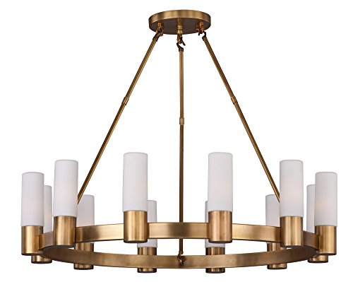 - Maxim 22419SWNAB Contessa 12-Light Chandlier, Natural Aged Brass Finish, Satin White Glass, CA Incandescent E12 Incandescent Bulb , 25W Max., Dry Safety Rating, Standard Dimmable, Bubble Glass Shade Material, Rated Lumens