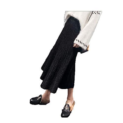 Falda Otoño Cintura 2018 A Alta Wsad Largo Black Punto Mediados De PAS7ACwq