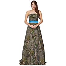 MILANO BRIDE Women's Prom Pageant Dress Maternity Gown Cheap Camo Strapless Sash