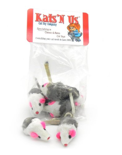 Rabbit Fur Mouse with Rattle - 5 Pak