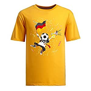 Custom Mens Cotton Short Sleeve Round Neck T-shirt, Printed with World Cup Images BallHead Germany yellow by Maris's Diary