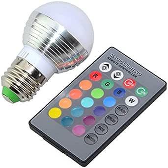 LEDMOMO 3W RGB LED Bulb E27 Color Changing Light Bulb with Remote Contorl 85-265V