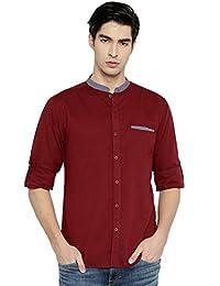 PIVOTO Men Maroon Slim Fit Solid Casual Shirt