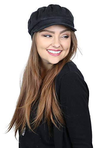 Newsboy Cap for Women Cancer Headwear Chemo Hat Cabbie Head Coverings Vegan Suede for Small Heads (Black)