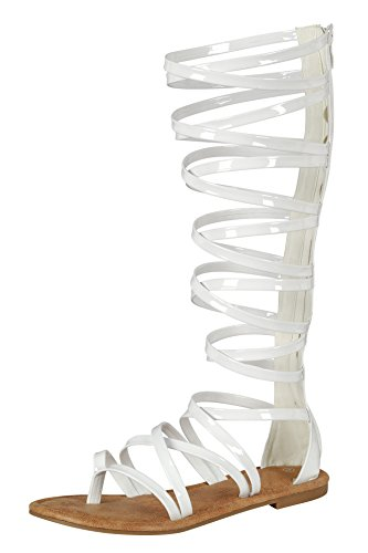 Cambridge Select Women's Open Toe Crisscross Strappy Flat Knee-High Gladiator Sandal (5.5 B(M) US, White)