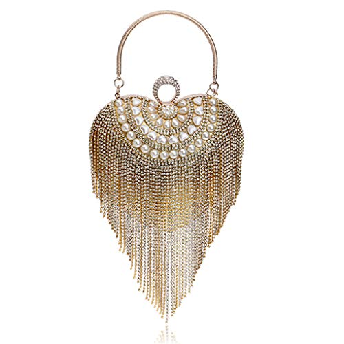 Jancerkmou Heart Shape Women Day Clutch Finger Ring Metal Diamonds Evening Bag with Handle Pearl Beaded Tassel Purse Gold