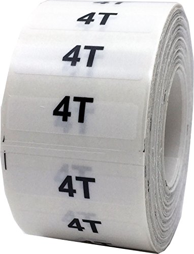 InStockLabels Clear Baby Toddler Child Clothing Size Strip Labels, 1.25 Inch x 5 Inch, 125 Labels per Roll, 4T