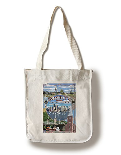, Massachusetts - Montage (100% Cotton Tote Bag - Reusable) ()