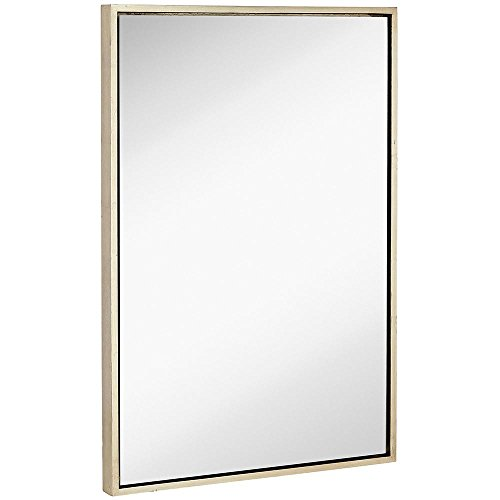 - Clean Large Modern Antiqued Silver Frame Wall Mirror | Contemporary Premium Silver Backed Floating Glass Panel | Vanity, Bedroom, or Bathroom | Mirrored Rectangle Hangs Horizontal or Vertical