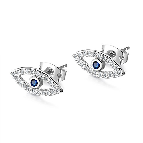 (Gold Plated & Silver Plated Evil Eye Stud Earrings with Mini Cubic Zirconia Cobalt Blue Glass Center Stone For Women Teen Girls (Platinum))