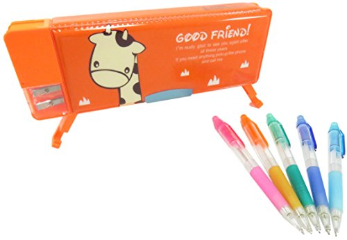 Giraffe Double-Sided Soft Pen Pencil Case With Magnetic Cover 9 x 3.25 Inches Orange with Rainbow Mechanical Pencils (6 Piece Set)