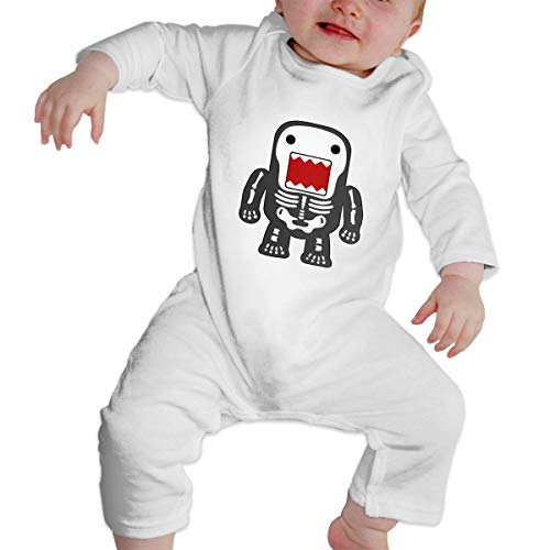 KAYERDELLE Funny Cool Domo-kun Skeleton Long Sleeve Unisex Baby Playsuit for 6-24 Months Infant White -