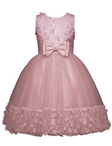 21KIDS Girls Fluffy Tulle Sleeveless Holiday Wedding Princess Dress Ornament With Flowers And Crossed Back Bow For 4-11T