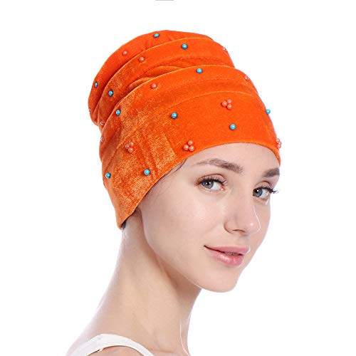 GOVOW Wrap Caps for Hair Women Velvet India Hat Muslim Ruffle Cancer Chemo Beanie Scarf Turban Orange