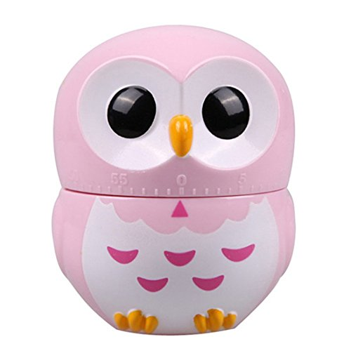 KIMICARE Chef 60 Minites Manual Owl Kitchen Cooking Timer Professional Chef Mechanical Lovely Animal Owl Timers With Long Ring Alarm, Pink