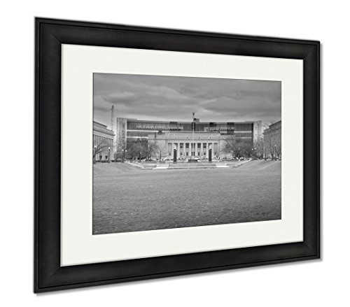 Ashley Framed Prints Indiana Public Library In American Legion Mall Indianapolis, Modern Room Accent Piece, Black/White, 34x40 (frame size), Black Frame, - In City Memorial Shops Mall