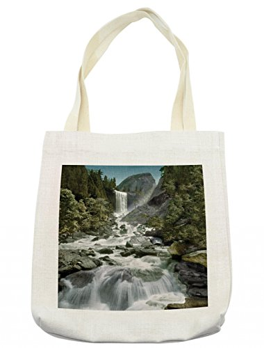 Lunarable Yosemite Tote Bag, Vernal Falls Half Dome Mountain Waterfall Stream Tourist Attractions Wild Nature, Cloth Linen Reusable Bag for Shopping Groceries Books Beach Travel & More, (Tourist Costume Makeup)
