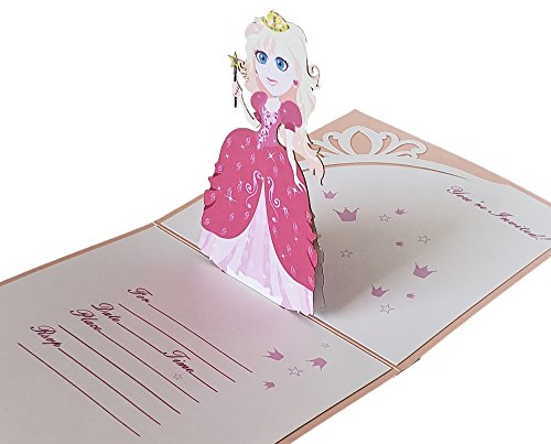 Pop up Princess Birthday Invitation With Envelopes. Pack of 10 Girls Pink Birthday Invitation (1st Birthday Invitations Princess)