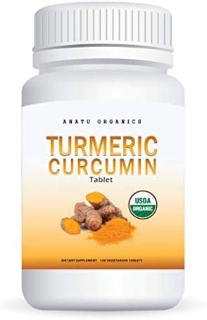 USDA Organic Turmeric Curcumin with Piperine for Joint Support, Pain Relief, Anti-Inflammatory. 120 Vegetarian Tablets.