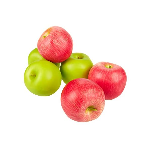 Juvale-Set-of-6-Fake-Fruit-Apples-Artificial-Fruit-Plastic-Apples-for-Still-Life-Paintings-Storefront-Decoration-Kitchen-Decor-Red-and-Green-27-x-22-x-25-Inches