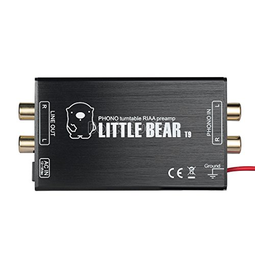 Nobsound Little Bear T9 Mini Phono Stage Preamp MM Moving Magnet Turntables Pre-Amplifier; RIAA MM HiFi Stereo LP Vinyl Preamp (Aluminium Alloy Shell) by Nobsound